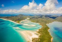 Aerial View Of Whitsunday Island Landscape With Paradise Beaches And Crystal Clear Blue Ocean Water, Queensland, Australia.