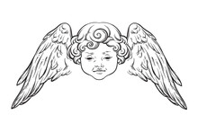 Cherub Cute Winged Curly Smiling Baby Boy Angel With Rays Of Linght Isolated Over White Background. Hand Drawn Design Vector Illustration