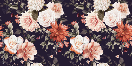 Seamless floral pattern with flowers on summer background, watercolor illustration Tapéta, Fotótapéta