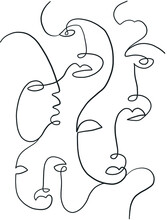 Pattern With Surreal Faces. One Line Drawing. Abstract Face Drawn By Cubist Artist In Monochrome Minimalism Style. Vector Design For Print, Decor, Poster, Pattern, Ornament For Clothes.