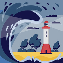 Banner Or Poster With Tsunami Natural Water Disaster, Flat Vector Illustration.