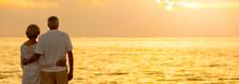 Senior Couple Sunset Tropical Beach Panorama Web Banner