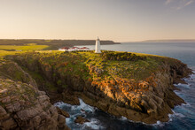 Aerial View Of Cape Willoughby Lighthouse On The Rocky Cliffs Facing The Great Australian Bight On Kangaroo Island, South Australia, Australia.