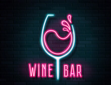 Retro Neon Wine Glass Sign On Wall Background