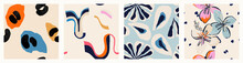 Modern Colorful Patterns. Hand Drawn Trendy Abstract Illustrations. Creative Collage Seamless Patterns.