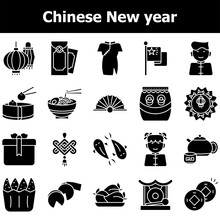 Glyph Style Set Of Chinese New Year Icons Or Symbol.