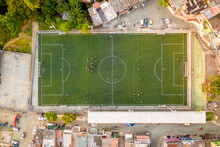 Aerial View Of A Small Football Stadium In A High Dented Population Residential District In Medellin, Antioquia, Colombia.