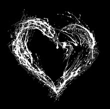 Abstract White Heart On Black Background