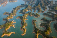 Aerial View Of  A Beautiful Landscape With Fjords  Over Embalse Del Penol Lake Near Guatapé Town, Antioquia, Colombia.
