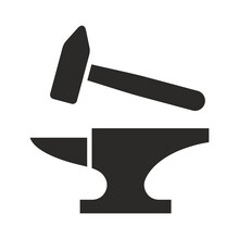 Blacksmith Icon. Anvil And Hammer. Vector Icon Isolated On White Background.