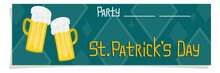 A Banner, A Flyer Celebration Of St. Patricks Day In Cartoon Style Is Isolated White Background. Location For Date And Time Party. Vector Illustration. Decorations Are Beer Glasses And Shamrock