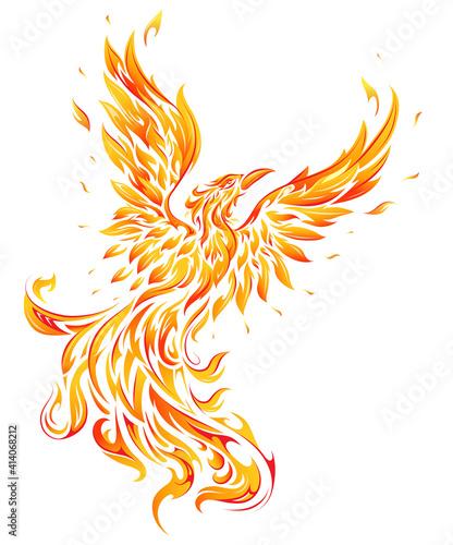 Photo Phoenix as fire flame bird shape