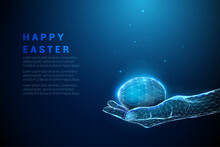 Abstract Blue Giving Hand With Easter Egg