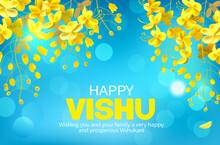 Greeting Banner With Konna Flowers (cassia Fistula) For South Indian New Year Festival Vishu (Vishukani).