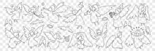 Angel Creatures With Wings And Halo Doodle Set. Collection Of Hand Drawn Looks Little Angels Of Saint Characters Playing Musical Instruments Taking Care Of Birds Isolated On Transparent Background