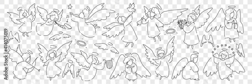 Fototapeta Angel creatures with wings and halo doodle set. Collection of hand drawn looks little angels of saint characters playing musical instruments taking care of birds isolated on transparent background obraz