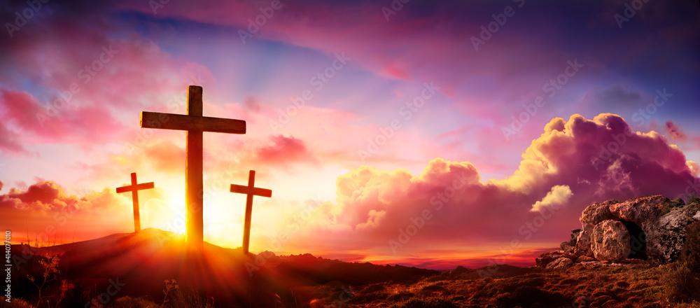 Fototapeta Crucifixion And Resurrection of Jesus at Sunrise