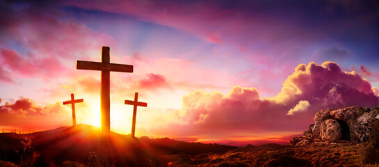Fototapeta na wymiar Crucifixion And Resurrection of Jesus at Sunrise