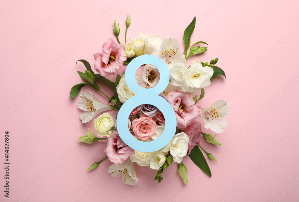 Fototapeta 8 March greeting card design with beautiful flowers on pink background, flat lay. International Women's day