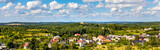 Panorama of Podzamcze and Gora Birow Mount ancient stronghold seen from Ogrodzieniec Castle in Silesia region of Poland