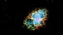 Crab Nebula NGC 1952 Exploration On Deep Space. Flight Into The Crab Nebula Pulsar Supernova Galaxy Animation. Traveling Through Star Fields And Galaxies  Space. Elements Furnished By NASA Image.