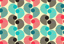 Abstract Colorful Seamless Dots Pattern Ivory Red Blue