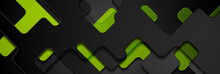Black And Green Glossy Geometric Abstract Background. Vector Banner Design