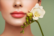Beautiful Model With A Flower. Perfect Woman Face Makeup Close Up. Lipstick. Eyelashes. Nice Smile. Glowing Skin