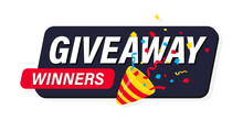 Exploding Festive Popper With Modern Typography Lettering Giveaway. Giveaway, Enter To Win. Party Popper With Confetti. Gift Concept For Winners. Social Media Post Template For Promotion Design