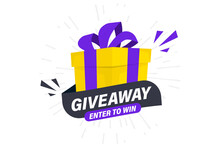 Giveaway, Enter To Win. Social Media Post Template For Promotion Design Or Website Banner. Win A Prize Giveaway. Gift Box With Modern Typography Lettering Giveaway. Giveaway Gift Concept For Winners