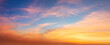 canvas print picture - Real panoramic sunrise sundown sunset sky with gentle colorful clouds