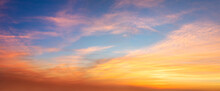 Real Panoramic Sunrise Sundown Sunset Sky With Gentle Colorful Clouds