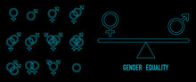 Gender Equality, Outline Gender Icons Set With Scale Represent Gender Equality