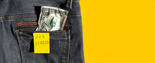 Job Search Text Ad Written On Note And One Rumpled Dollar On Jeans Pocket Isolated On Yellow Background. Unemployment During Coronavirus Covid-19 Crisis, Loss And Need Work Concept. Banner, Copy Space