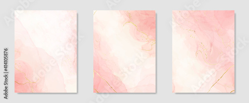 Collection of abstract pink liquid watercolor background with golden crackers. Pastel marble alcohol ink drawing effect. Vector illustration design template for wedding invitation - fototapety na wymiar