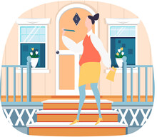Cute Businesswoman In Yellow Skirt White Shirt Standing On Steps Near Her House Side View, Makes Wave Of Her Hand Flat Vector Illustration. Full Length Imposing Happy Woman Manager On Doorstep