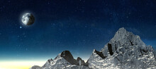 High Snow Covered Rock Massif Rise From The Fog In Moonlight - 3d Illustration