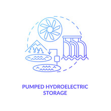 Storing Energy Of Grid At Transmission Stage Concept Icon. Water-power Plant Idea Thin Line Illustration. Complex Of Generators And Pumps. Vector Isolated Outline RGB Color Drawing