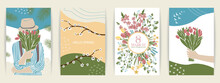 Set Of Cute Abstract  Illustrations People And Spring. Girls With Bouquets Of Flowers, March 8 And Spring Mood.  Vector  Poster, Card, Invitation, Placard, Brochure, Flyer   Contemporary, Minimalism