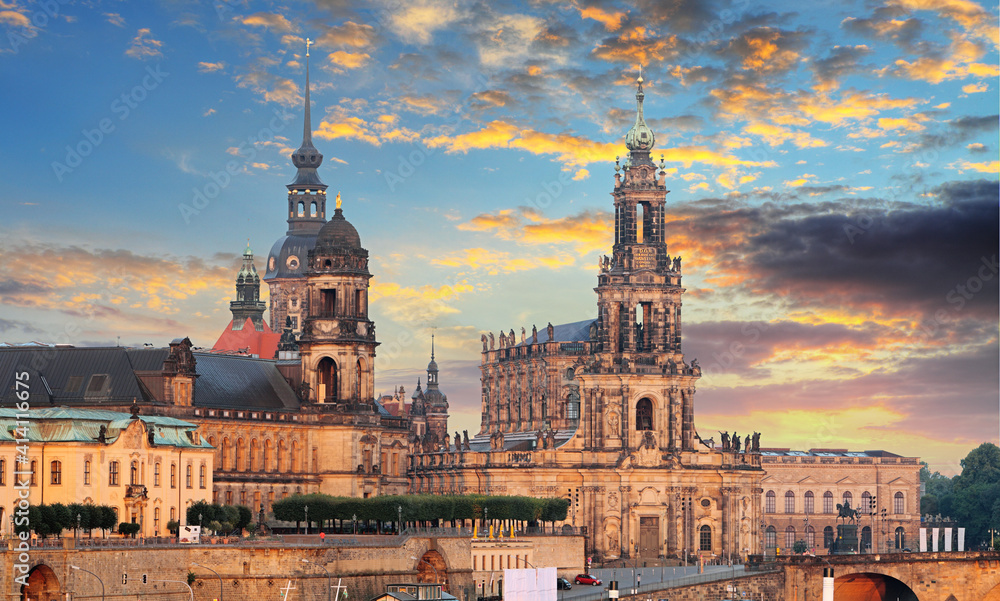 Fototapeta The old town of Dresden with the Hofkirche