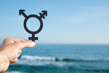 Person Showing A Transgender Symbol