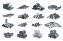 Set Of Various Metal Profiles, Shapes, Tubes, Wires, Nets, 3d Illustration