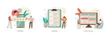 Various Online Survey And Rating Icons. Characters Filling Survey Form, Putting Check Marks On Checklist And Giving Five Star Feedback. User Experiences  Concept. Flat Cartoon Vector Illustration.