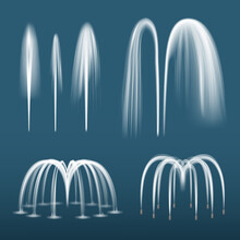 Fountain Realistic. Decorative Water Splashes Spray Liquids From Fountain Jet Vector Templates Collection. Illustration Fountain Splash, Decorative Stream Water Motion For Garden Decor