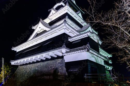 城 夜空 宮廷 ライトアップ 美しい夜空を背景に城のライトアップ風景 日本 熊本県熊本市 熊本城2020年12月撮影 castle night sky cour Wallpaper Mural