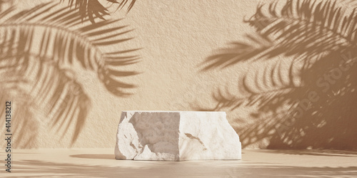 Brown cosmetic beauty product rock podium with palm shadows. Minimal mockup background for product and cosmetic presentation. 3d rendering illustration.