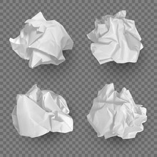 Crumpled Paper Balls. Realistic Garbage Bad Idea Symbols Crushed Piece Of Papers Decent Vector Templates Collection. Crumpled Textured Rubbish, Damaged Crumbled Paper Illustration