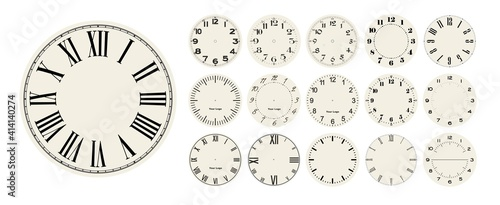 Fotografie, Obraz Big set of vector clock faces, watch dials in different styles for watch clock d