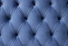 Luxury Seamless Background Of Velvet Blue Fabric On Upholstered Furniture Close-up
