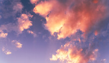 Natural Sky Background. Bright Sunset With Orange Clouds.